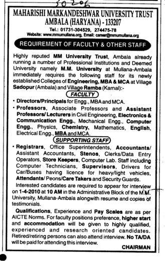 Director Proffessors Assistant Proffessors and Associate Proffessors (Maharishi Markandeshwar University)