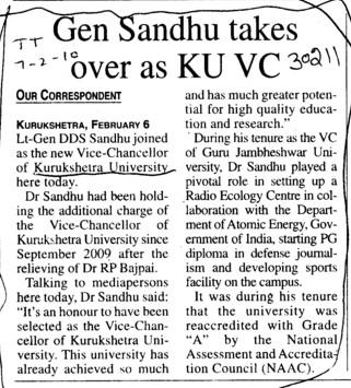 Gen Sandhu takes over as KU VC (Kurukshetra University)