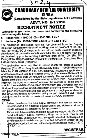 Readers and Lecturers (Chaudhary Devi Lal University CDLU)