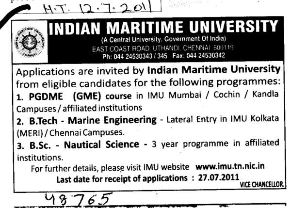 PGDME B Tech and M Sc Courses (Indian Maritime University)