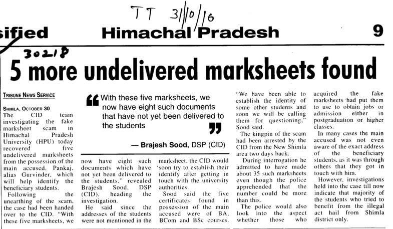 Five more undelivered marksheets found (Himachal Pradesh University)