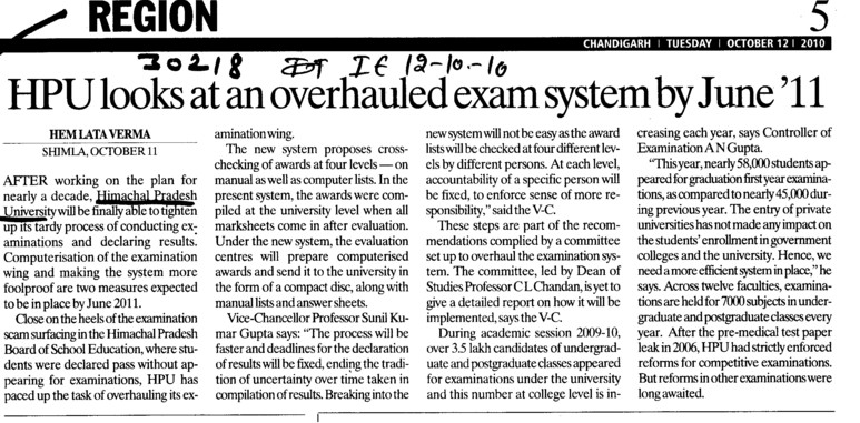 HPU looks at an overhauled exam system by june 11 (Himachal Pradesh University)