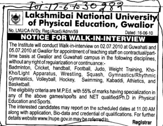 Teaching staff on Contractual basis (Lakshmibai National University of Physical Education (LNUPE))