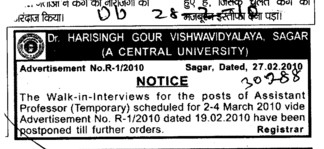Assistant Proffessor Required (Dr Harisingh Gour University)