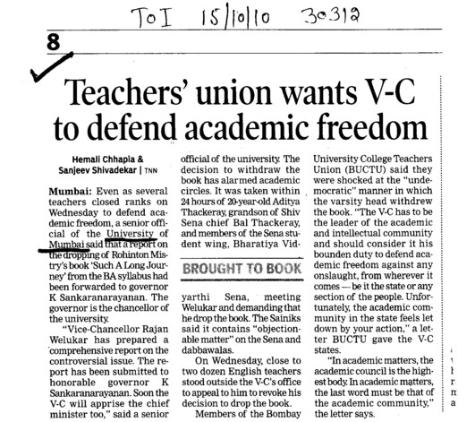 Teachers union wants VC to defend academic freedom (University of Mumbai (UoM))