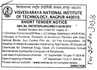 Tender Notice are invited for Dekstop Computers Voltage Stabilizers and Supply of Furniture etc (Visvesvaraya National Institute of Technology (VNIT))