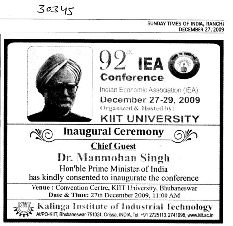 Dr Manmohan Singh to inaugurate IEA Conference (KIIT University)