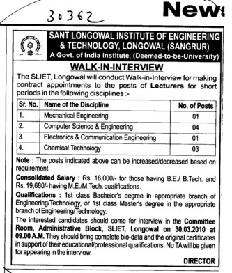 Lecturer for Mechanical Engineering Chemical Technology and Electronics Engineering etc (Sant Longowal Institute of Engineering and Technology SLIET)