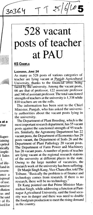 528 vacant posts of Teacher at PAU (Punjab Agricultural University PAU)