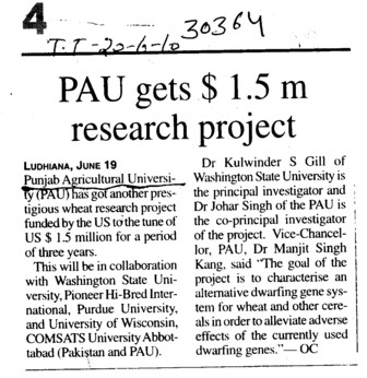 PAU gets wheat research project (Punjab Agricultural University PAU)
