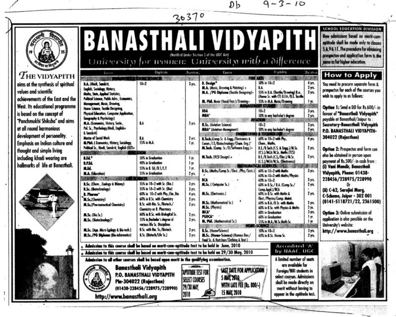 BA BCA MCA BBA and BSc etc (Banasthali University Banasthali Vidyapith)