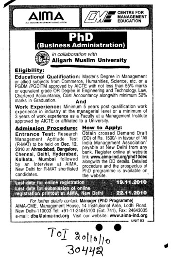PhD in Bussiness Administration (Aligarh Muslim University (AMU))