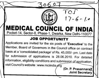 Post of Executive (Medical Council of India (MCI))