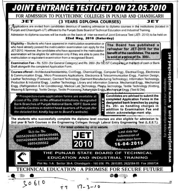 Three years Diploma in JET (Punjab State Board of Technical Education (PSBTE) and Industrial Training)