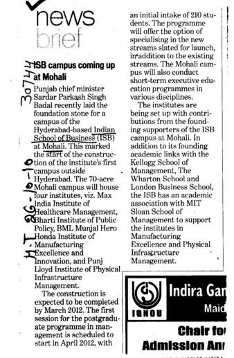 ISB Campus coming up at Mohali (Indian School of Business Chandigarh Mohali Campus)