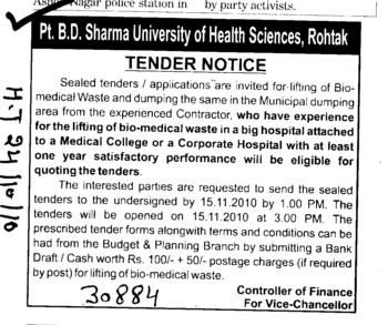 Tender Notice invited for Biomedical waste and dumping the same in Municipal dumping area (Pt BD Sharma University of Health Sciences (BDSUHS))