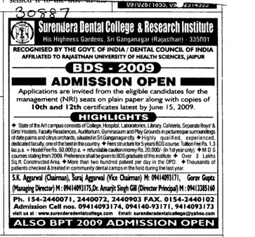 BDS for NRI (Surendera Dental College & Research Institute)