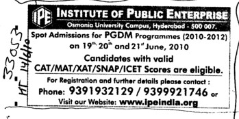 Post Graduate Diploma in Management (Osmania University)
