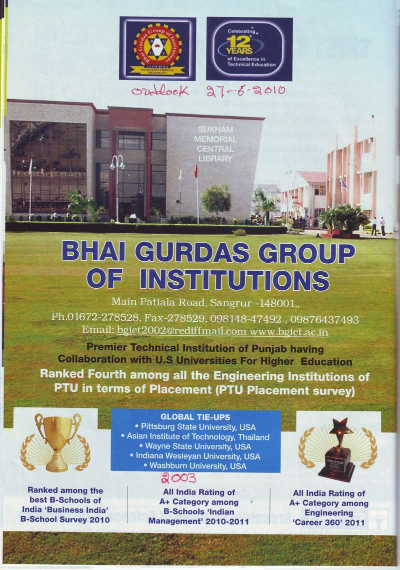 Ranked Fourth among all the Engineering (Bhai Gurdas Group of Institutions)