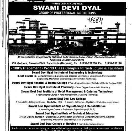 BTech in ECE ME Civil and EE etc (Swami Devi Dyal Group of Professional Institutes)