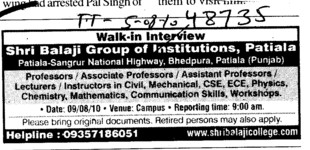 Proffessor Assistant Proffessor and Associate Proffessor etc (Rayat Bahra Patiala Campus (Shri Balaji Group of Institutions))