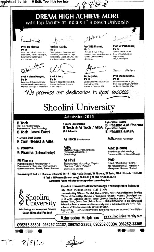 BTech BCom B Pharmacy and PhD etc (Shoolini University)