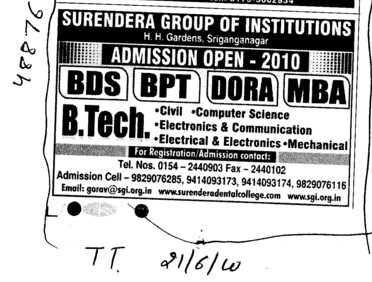 BTech BDS BPT and MBA etc (Surendera Group of Institutions)