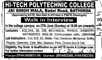Lecturers and Lab Instructors (Hi Tech Polytechnic College)