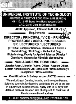 Director Proffessors Assistant Proffessors and Associate Proffessors Lecturers etc (Universal Institute of Technology)