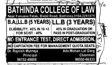BA and LLB Courses (Bathinda College of Law)