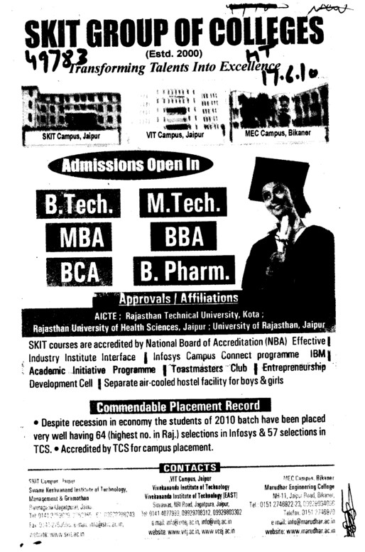 BTech MTech MBA BBA and BCA etc (SKIT Group of Colleges)