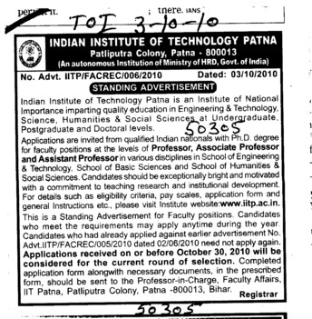 Proffessor Assistant Proffessor and Associate Proffessor etc (Indian Institute of Technology IIT)