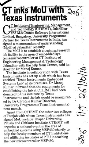 CT links MoU with texas Instruments (CT Institute of Management and Information Technology)