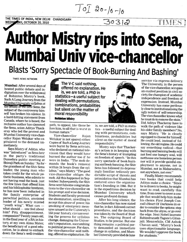 Author Mistry rips into Sena (University of Mumbai (UoM))
