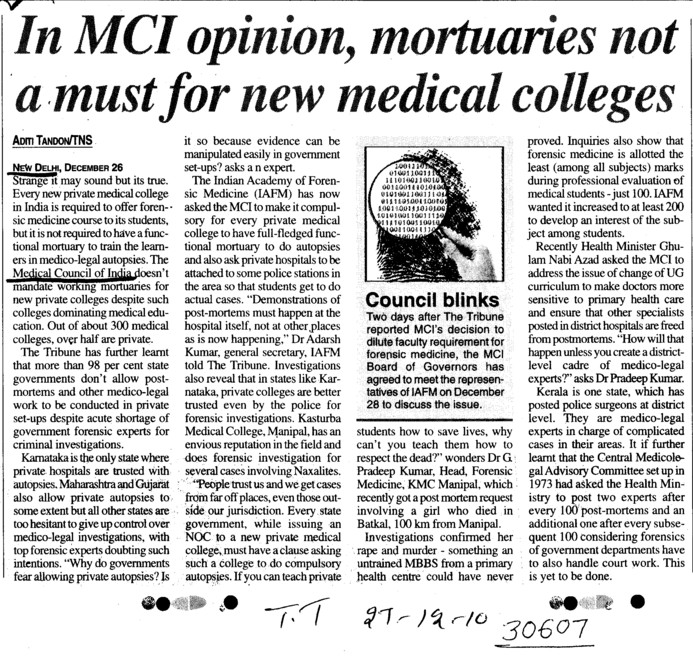 In MCI opinion mortuaries not a must for new medical colleges (Medical Council of India (MCI))