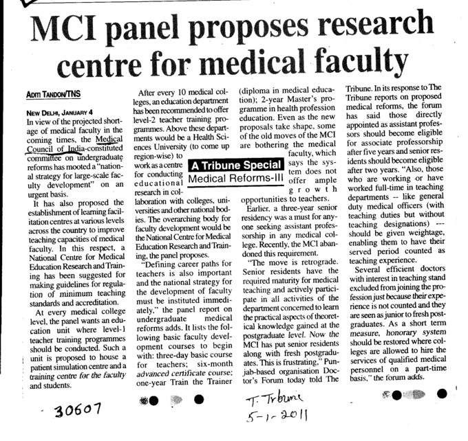 MCI panel proposes research centre for medical faculty (Medical Council of India (MCI))