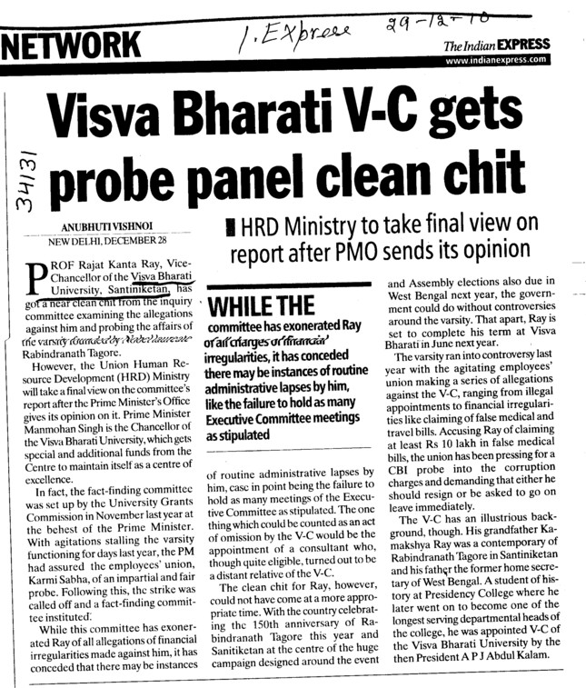 Visva Bharati VC gets probe panel clean chit (Visva Bharati University)