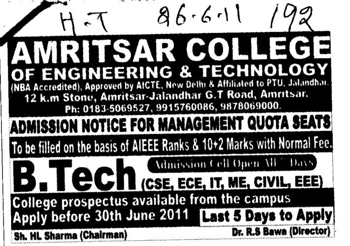 Engineering and Technology (Amritsar College of Engineering and Technology ACET Manawala)
