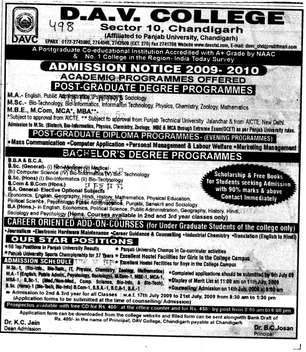 Post Graduate Programmes (DAV College Sector 10)