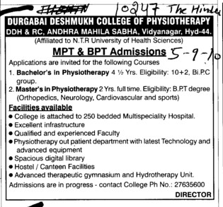 MPT and BPT Courses (Durgabai Deshmukh College of Physiotherapy Vidyanagar)