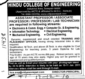Assistannt Professors Associate Professors and Lab Technician etc (Hindu College of Engineering (HCE))