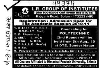 BA LLB and MBA Courses (LR Group of Institutions)