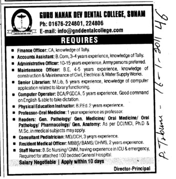 Technical Staff (Guru Nanak Dev Dental College)