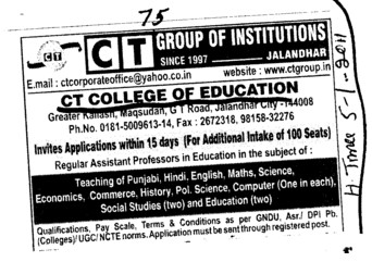 Teaching of Punjabi Hindi and English etc (CT College of Education)