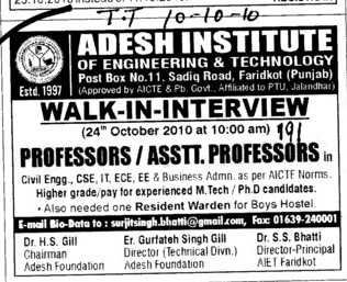 Professors and Assistant Professors (Adesh Institute of Engineering and Technology (AIET))