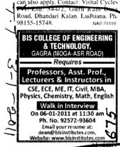 Professors Assistant Professors Lecturer and Instructor (BIS College of Engineering and Technolngy Gagra)