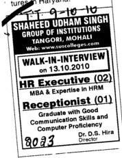 HR Executive Operator (SUS Group of Institutions)
