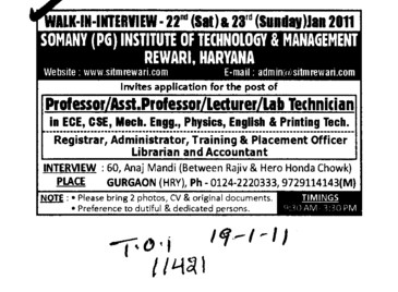 Professors Assistant Professors Lecturer and Lab Technician (Somany Institute of Technology and Management (SITM))
