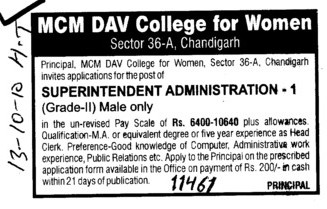 Superintendent Administration (MCM DAV College for Women)