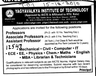 Professors Assistant Professors and Associate Professors etc (Yagyavalkya Institute of Technology (YIT) Sitapura)